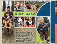"""Kids Zone"" Left side, digital scrapbook layout features SSDLAT: 8.5x22 Scrap it Monthly Three Series 2"