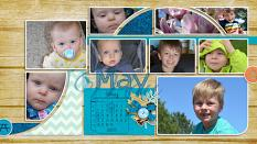 """May Desktop"" digital scrapbook layout Features SSDLAT Scrap It Monthly 3: 8.5x22 Series 2"