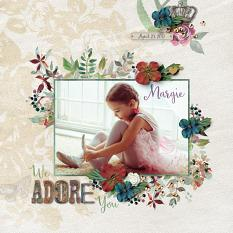 """Adore"" digital scrapbook layout by Darryl Beers"