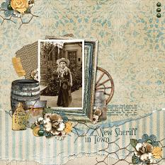 """New Sheriff In Town"" digital scrapbooking layout using Swap Meet Collection Biggie"