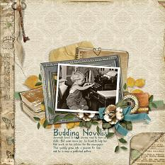 """Budding Novelist"" digital scrapbooking layout using Swap Meet Collection Biggie"
