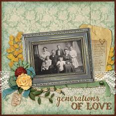 """Generations Of Love"" digital scrapbooking layout using  Swap Meet Collection Biggie"