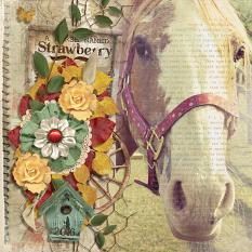 """A Horse Named Strawberry"" digital scrapbooking layout featuring Swap Meet Word Art and Alpha Biggie"