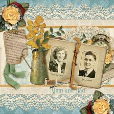 """""""Mom  And Dad"""" digital scrapbooking layout featuring Swap Meet Embellishment Clusters"""