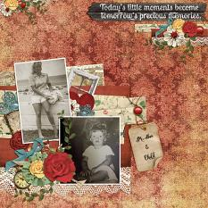 """Mother And Child"" digital scrapbooking layout using Swap Meet Word Art Mini"