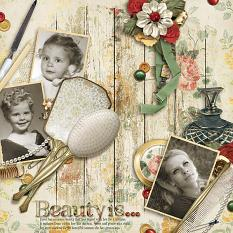 """Beauty Is..."" digital scrapbooking layout using Grandma's Vanity Collection Super Mini"