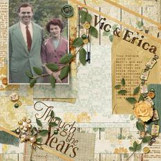 """Through The Years"" digital scrapbooking layout using Grandma's Vanity Collection Super Mini"