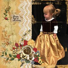 """Dress Up"" digital scrapbooking layout featuring Grandma's Vanity Collection Super Mini"