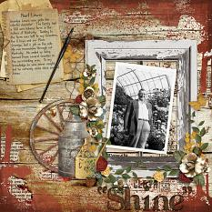"""Shine"" digital scrapbooking layout using Grandma's Vanity Collection Super Mini"