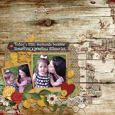 """Little Moments"" digital scrapbooking layout using Grandma's Vanity Collection Super Mini"