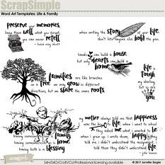 ScrapSimple Word Art Templates: Life and Family
