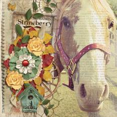 """A Horse Called Strawberry"" digital scrapbooking layout by Pam Zeman"