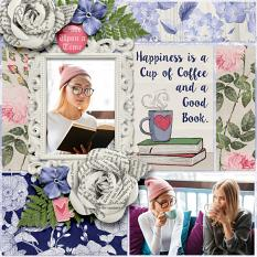 """Happiness is"" digital scrapbook layout by Darryl Beers"