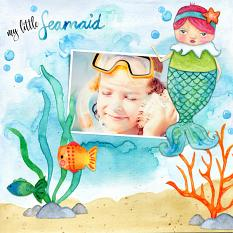 Scrapbook page using Under the Sea digital kit