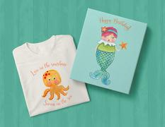t-shirt and box using Under the Sea clip-art