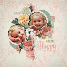 """""""You are my Happy"""" digital scrapbook layout by Darryl Beers"""