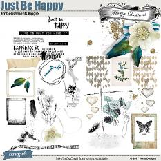 Just Be Happy Embellishment by Florju Designs