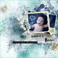 layout using Just Be Happy Embellishment by Florju Designs