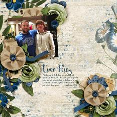 """Time Flies"" digital scrapbooking layout using Feeling Sentimental Collection Mini"
