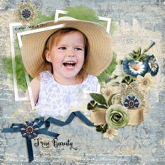 """True Beauty"" digital scrapbooking layout using Feeling Sentimental Collection Mini"