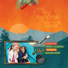 """Dream Explore Discover"" digital scrapbook layout by Darryl Beers"