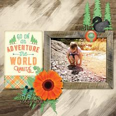 """The World Awaits"" digital scrapbook layout by Darryl Beers"