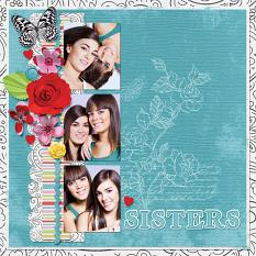 """Sisters"" digital scrapbook layout by Darryl Beers"