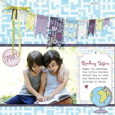 """Reading Lesson"" digital scrapbook layout by Darryl Beers"