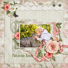 """Precious Kisses"" digital scrapbooking layout using Lazy Days Of Summer Collection Mini"