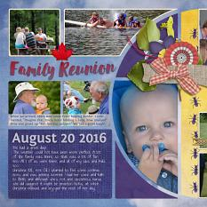 """Family Reunion"" left side digital scrapbook layout features Picnic Collection Mini"