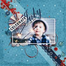 """Celebrate July the 4th"" by AFT Designs - Amanda Fraijo-Tobin using Photo Masks - Sparkler Embellishment Templates #digitalscrapbookinglayout"
