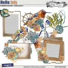 Hello July Embellishment Mini: Cluster Pack 1 by florju designs
