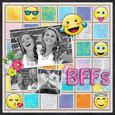 """BFFs"" digital scrapbook layout by Laura Louie"
