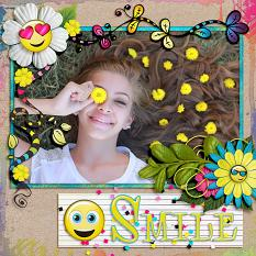 """Smile"" digital scrapbook layout by Laura Louie"
