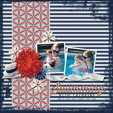 """""""Swimming with Cathrine"""" Digital Scrapbooking Layout By April Martell"""
