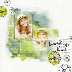 Scrapbook page using Painted Page Layer Styles