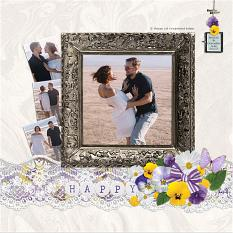"""Happy"" digital scrapbook layout by Andrea Hutton"