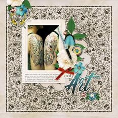 """Body Art"" digital scrapbook layout by Darryl Beers"