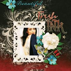 """Fresh Ink"" digital scrapbook layout by Darryl Beers"