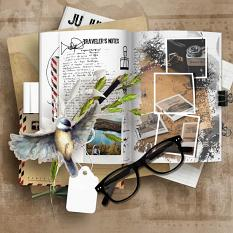layout using Traveler's Notebook Embellishment Cluster Pack 2 by florju designs