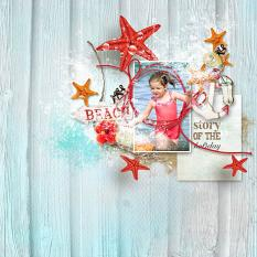 layout using Tropical sea Embellishment Mini: Cluster Pack 2 by florju designs