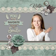 """Katie"" digital scrapbook layout by Darryl Beers"