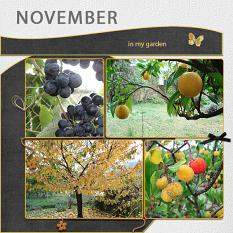 """November"" digital scrapbook layout features Value Pack: 12 x 24 Scrap It Monthly Three"