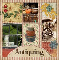 """Antiquing"" digital layout features ScrapSimple Scrap It Monthly 3"