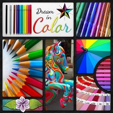 """""""Dream in Color"""" digital scrapbook layout by Laura Louie"""