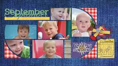 """September"" digital scrapbook layout showcases ScrapSimple Digital Layout Album Templates: 8.5x22 Scrap It Monthly 3 Series 3"