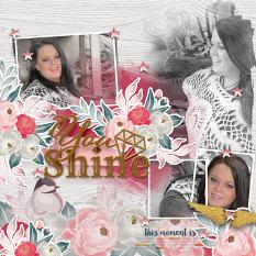 """You Shine"" digital scrapbook layout by Vikki Lamar"