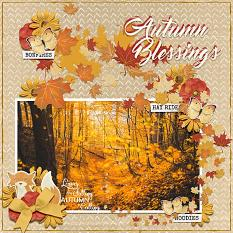"""Autumn Blessings"" digital scrapbook layout by Vikki Lamar"
