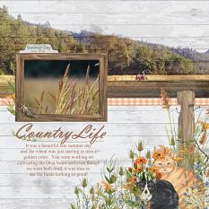 Country Life layout using using Barn Cats Embellishment Mini by Angela Blanchard