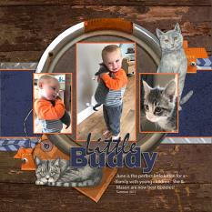 Little Buddy layout using Barn Cats Embellishment Mini by Angela Blanchard